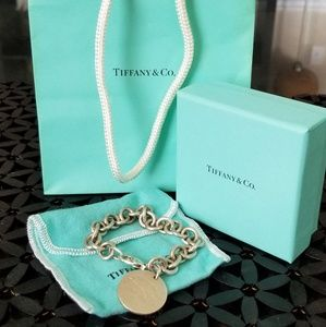 Tiffany and Co round tag silver bracelet